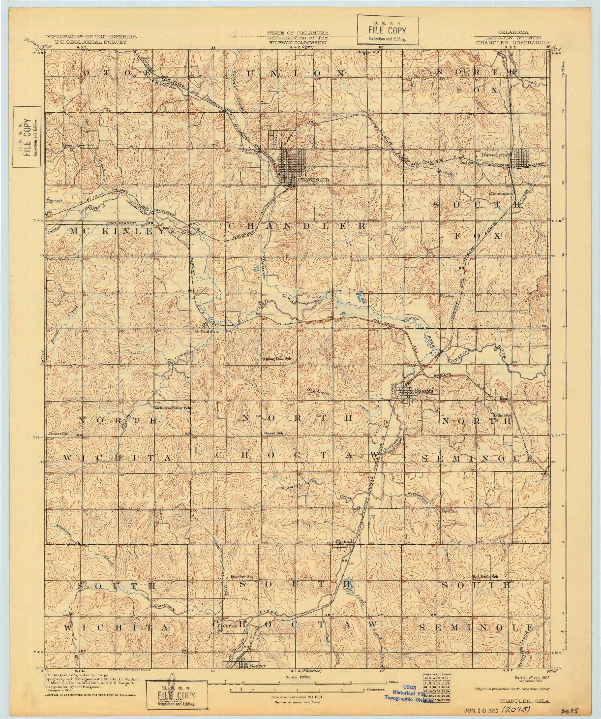 USGS 1:62500-SCALE QUADRANGLE FOR CHANDLER, OK 1907