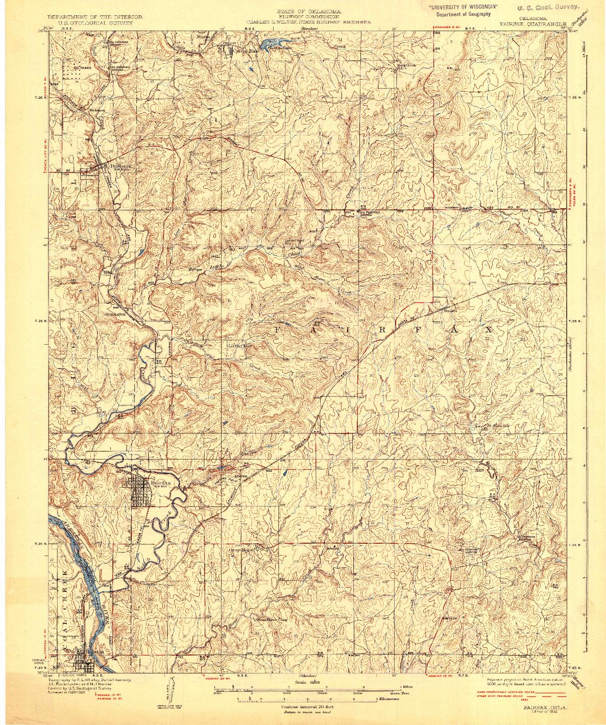 USGS 1:62500-SCALE QUADRANGLE FOR FAIRFAX, OK 1932