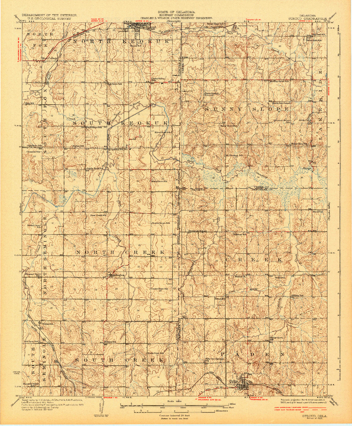 USGS 1:62500-SCALE QUADRANGLE FOR STROUD, OK 1932