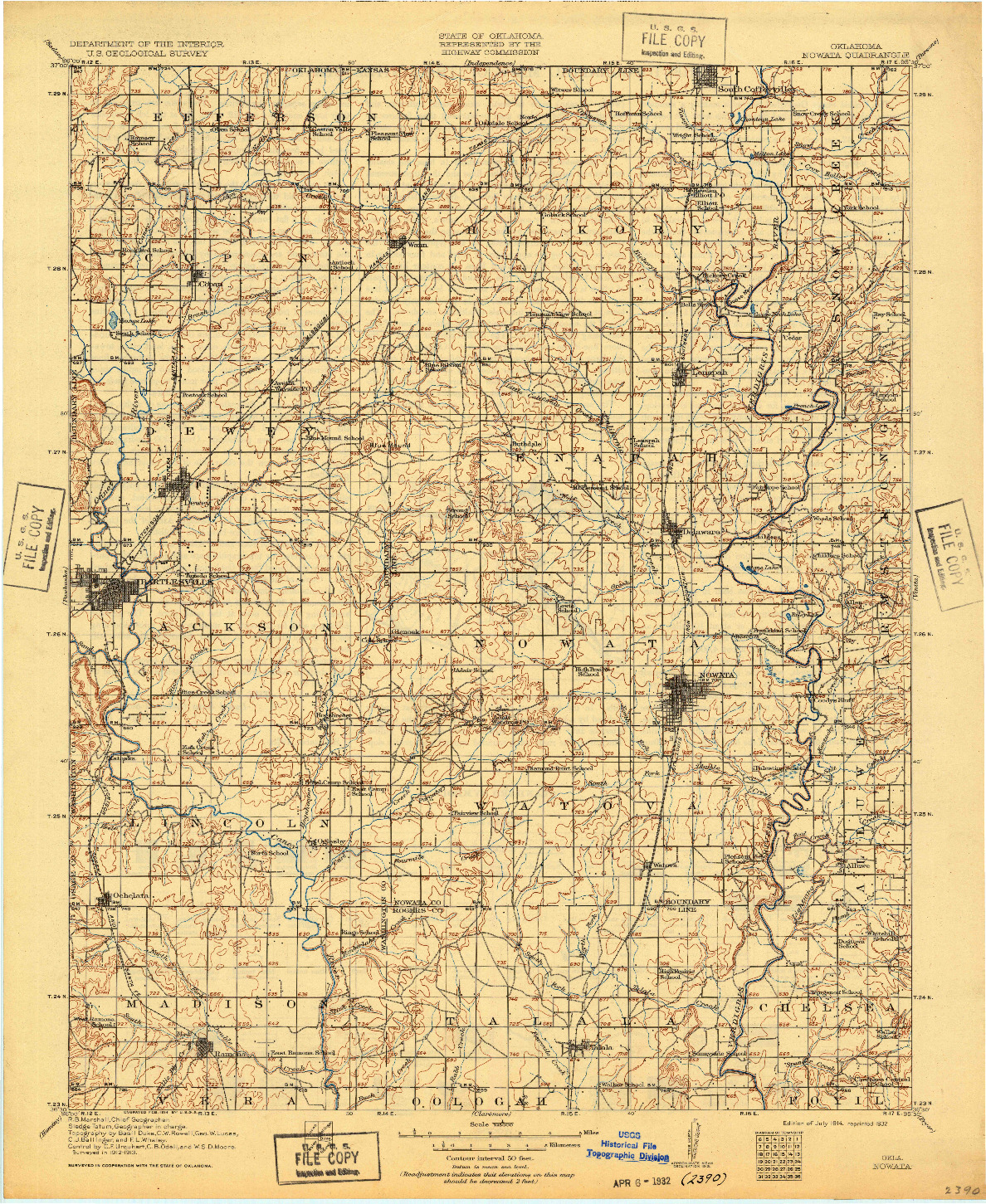 USGS 1:125000-SCALE QUADRANGLE FOR NOWATA, OK 1914