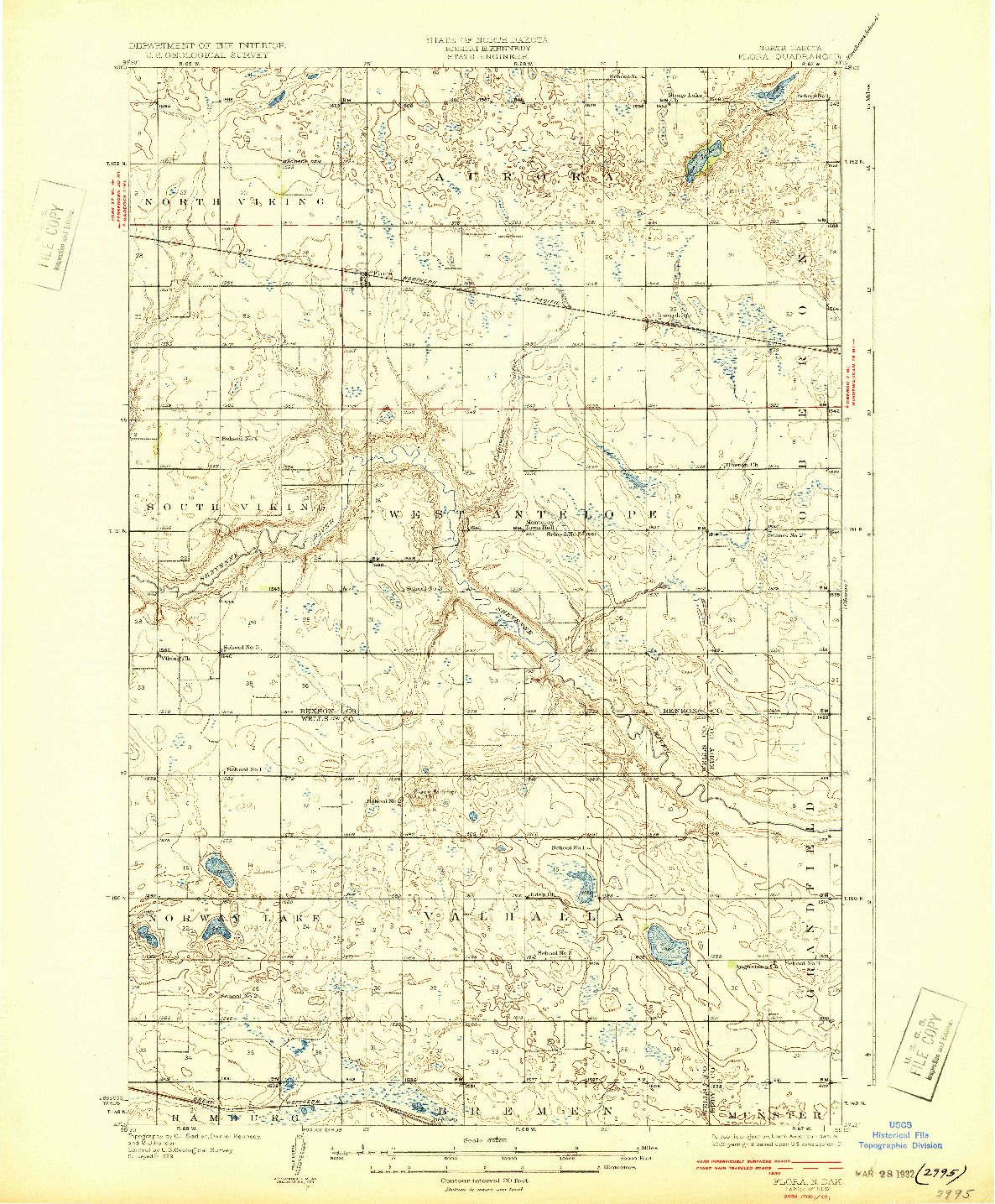 USGS 1:62500-SCALE QUADRANGLE FOR FLORA, ND 1932