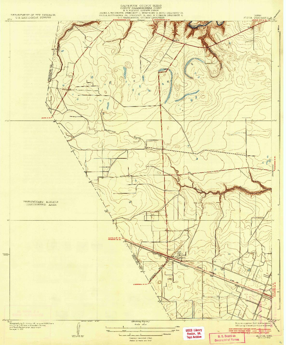 USGS 1:31680-SCALE QUADRANGLE FOR ALGOA, TX 1932