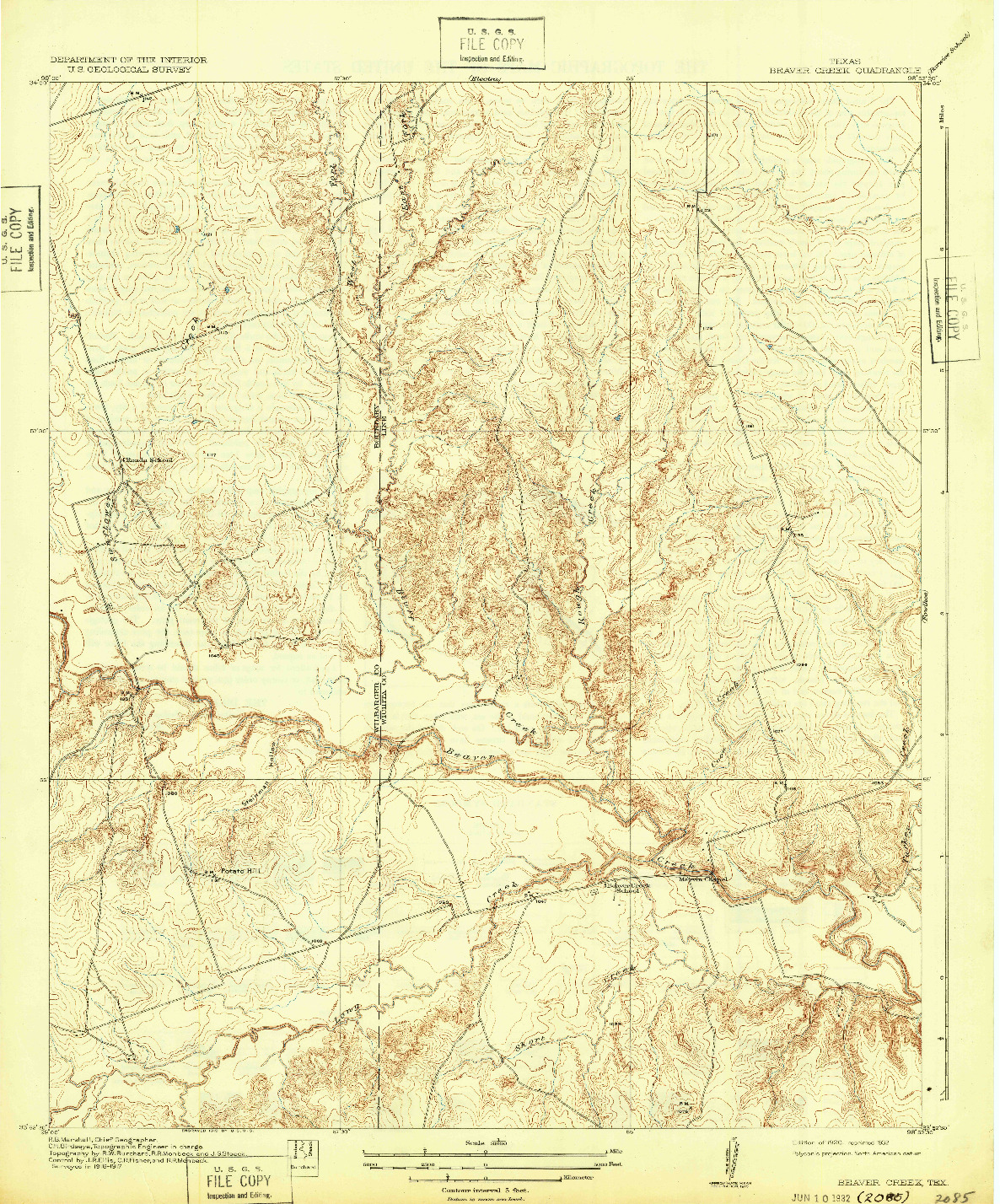 USGS 1:31680-SCALE QUADRANGLE FOR BEAVER CREEK, TX 1920
