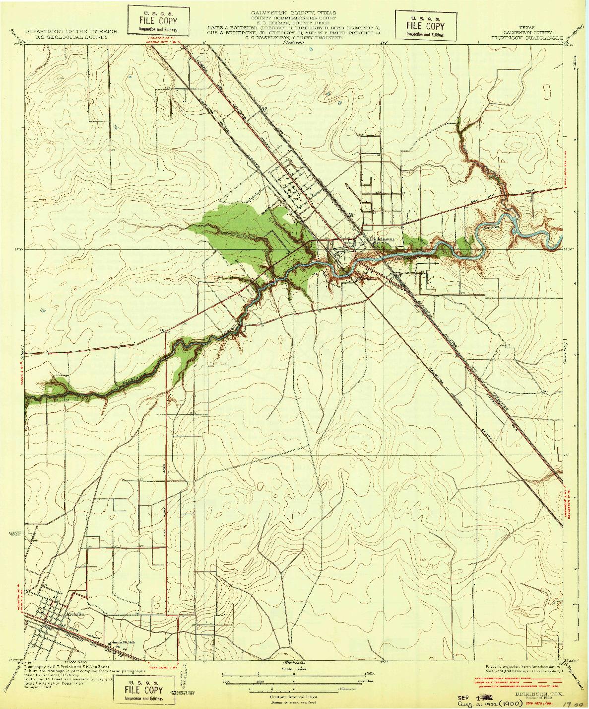 USGS 1:31680-SCALE QUADRANGLE FOR DICKINSON, TX 1932