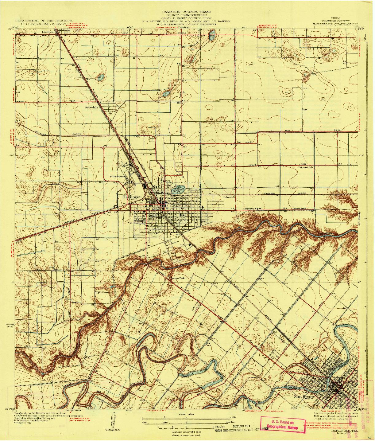 USGS 1:31680-SCALE QUADRANGLE FOR HARLINGEN, TX 1932