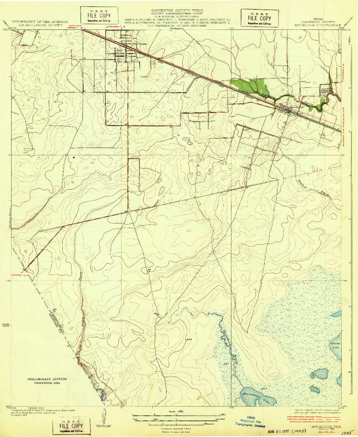 USGS 1:31680-SCALE QUADRANGLE FOR HITCHCOCK, TX 1932