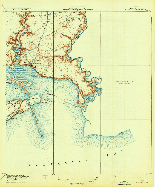 USGS 1:31680-SCALE QUADRANGLE FOR MORGAN POINT, TX 1919