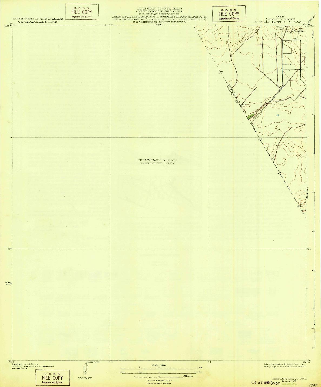 USGS 1:31680-SCALE QUADRANGLE FOR MUSTANG BAYOU, TX 1932