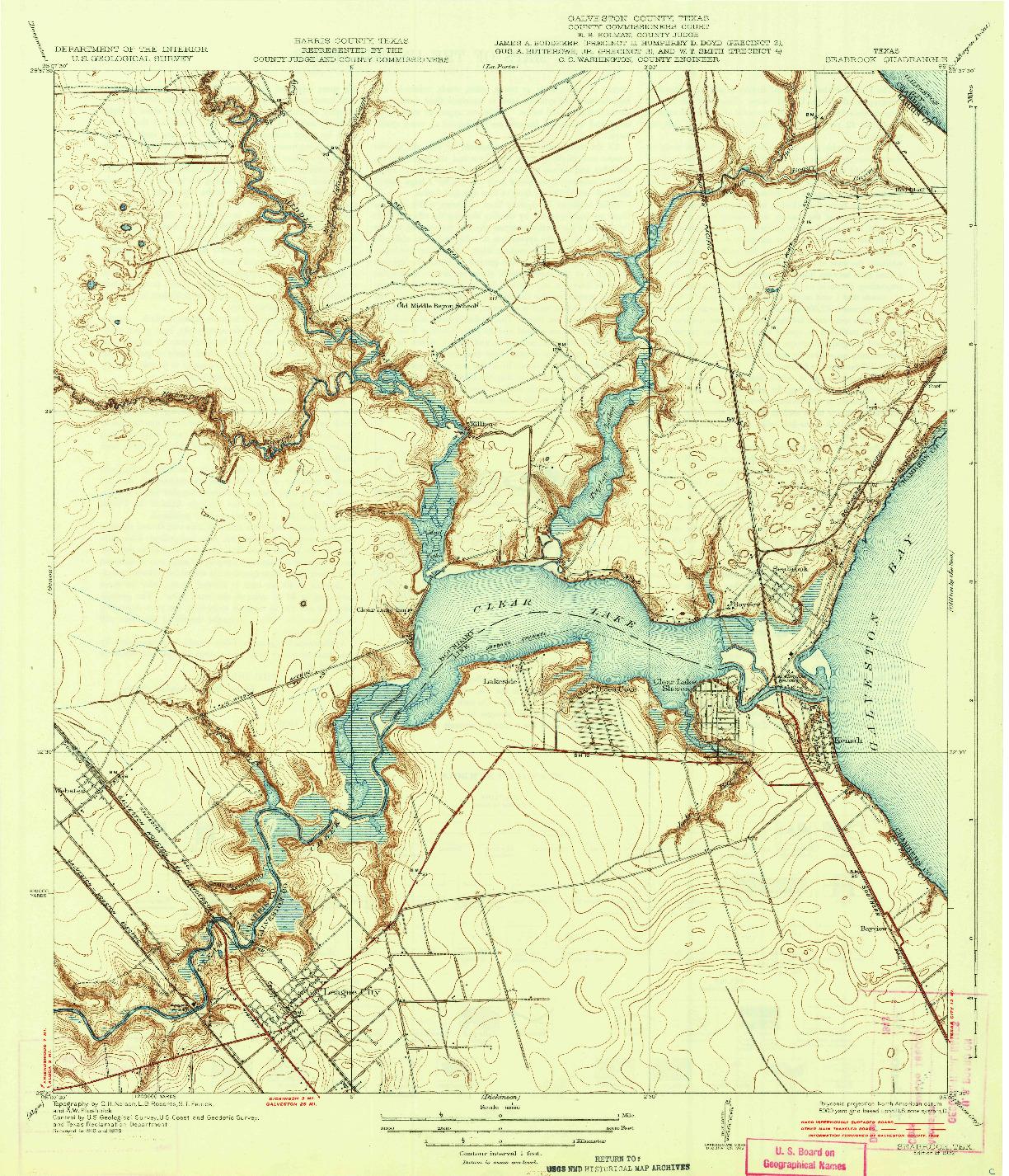 USGS 1:31680-SCALE QUADRANGLE FOR SEABROOK, TX 1932