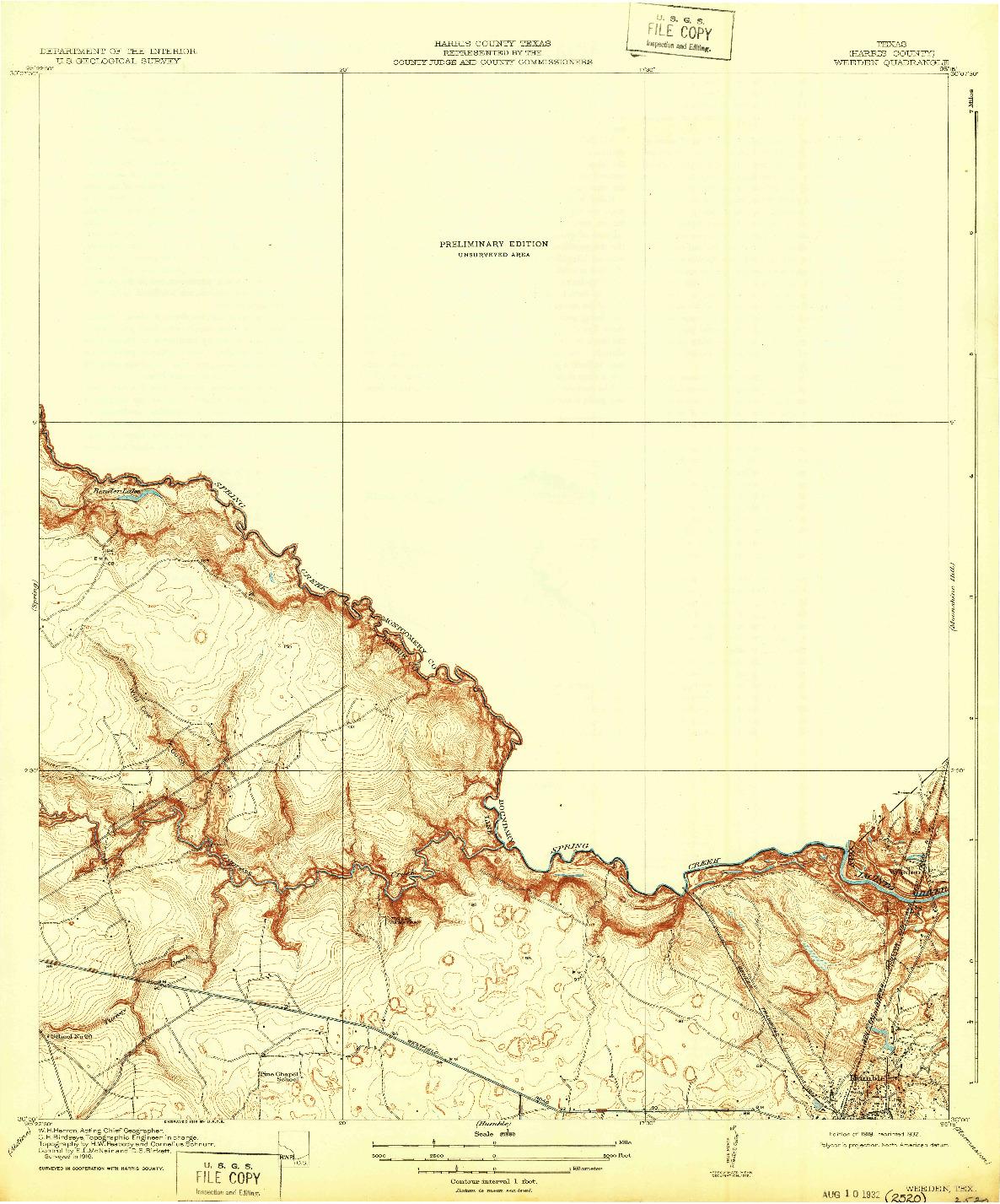 USGS 1:31680-SCALE QUADRANGLE FOR WEEDEN, TX 1919