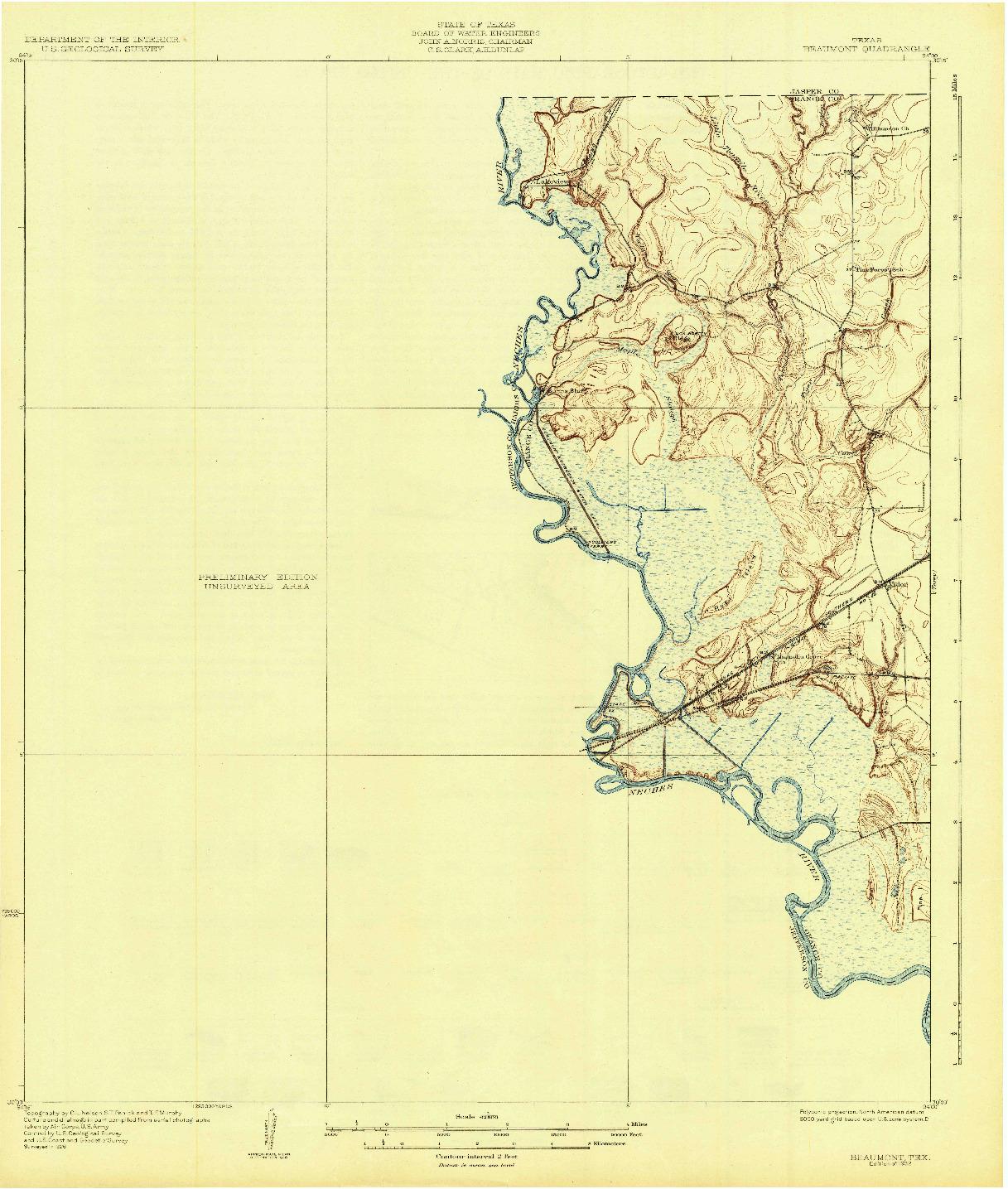 USGS 1:62500-SCALE QUADRANGLE FOR BEAUMONT, TX 1932