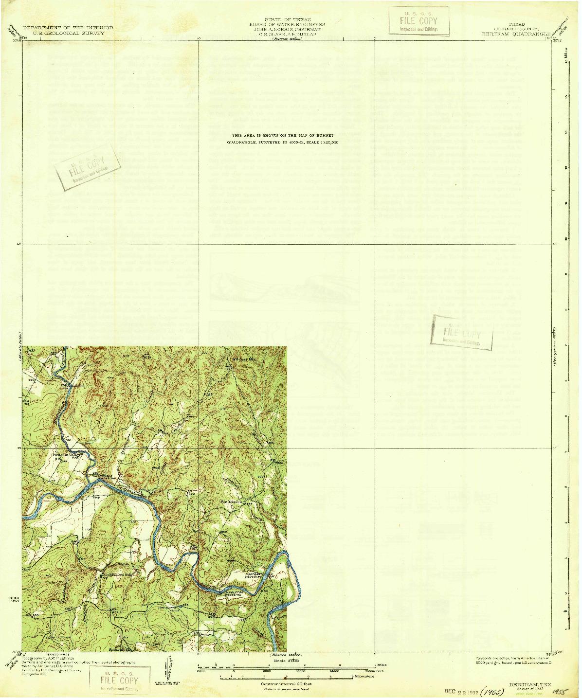 USGS 1:62500-SCALE QUADRANGLE FOR BERTRAM, TX 1932