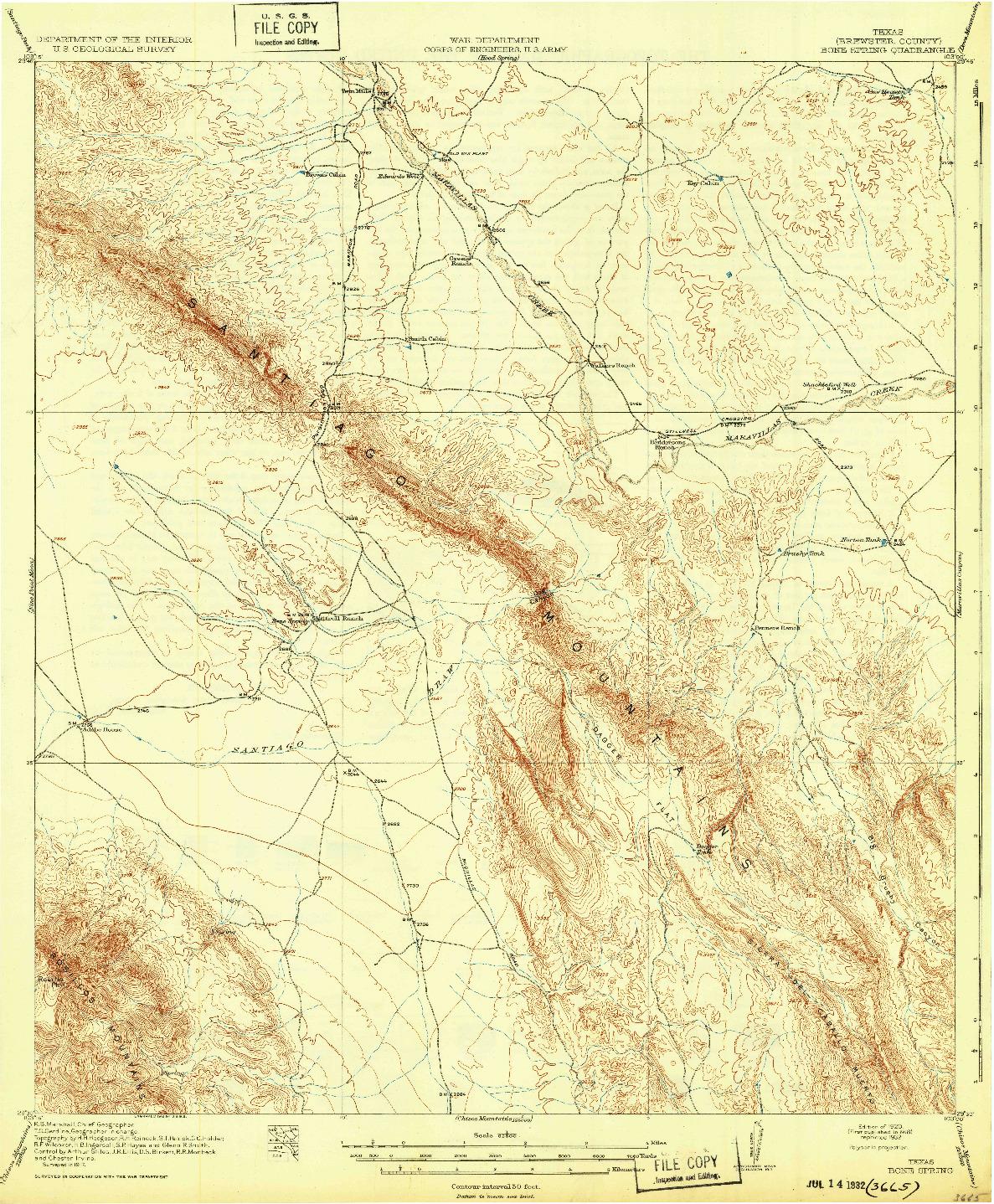 USGS 1:62500-SCALE QUADRANGLE FOR BONE SPRING, TX 1920