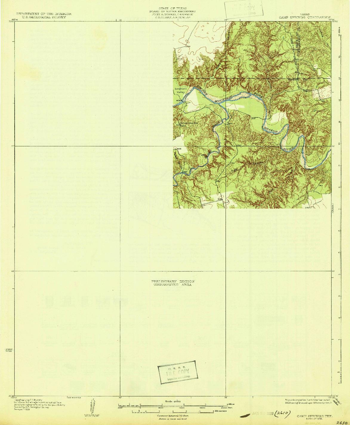 USGS 1:62500-SCALE QUADRANGLE FOR CAMP SPRINGS, TX 1932