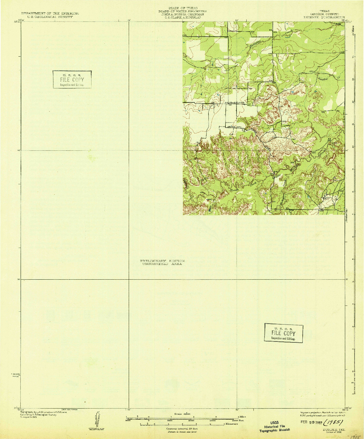 USGS 1:62500-SCALE QUADRANGLE FOR DUNDEE, TX 1932