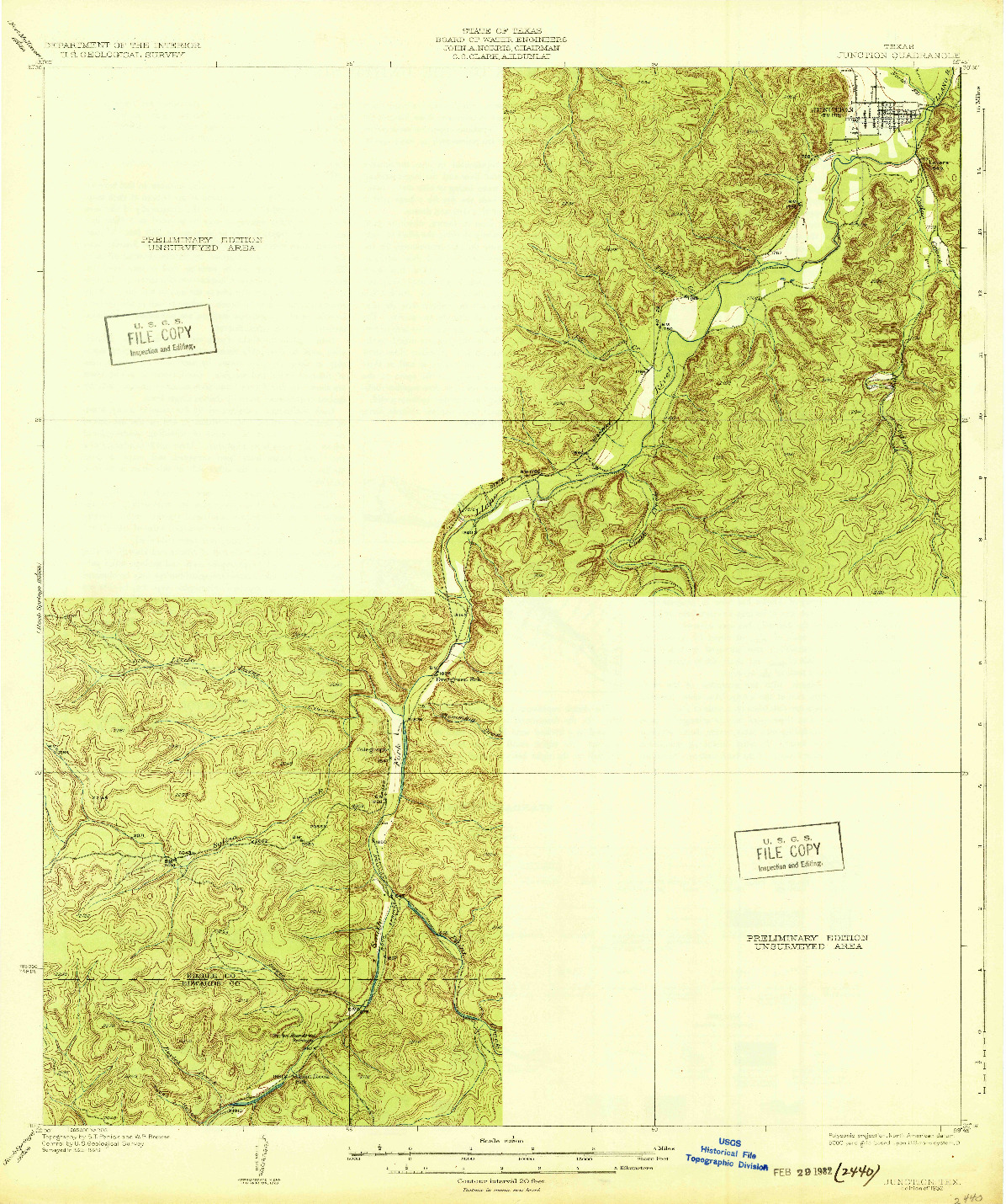 USGS 1:62500-SCALE QUADRANGLE FOR JUNCTION, TX 1932