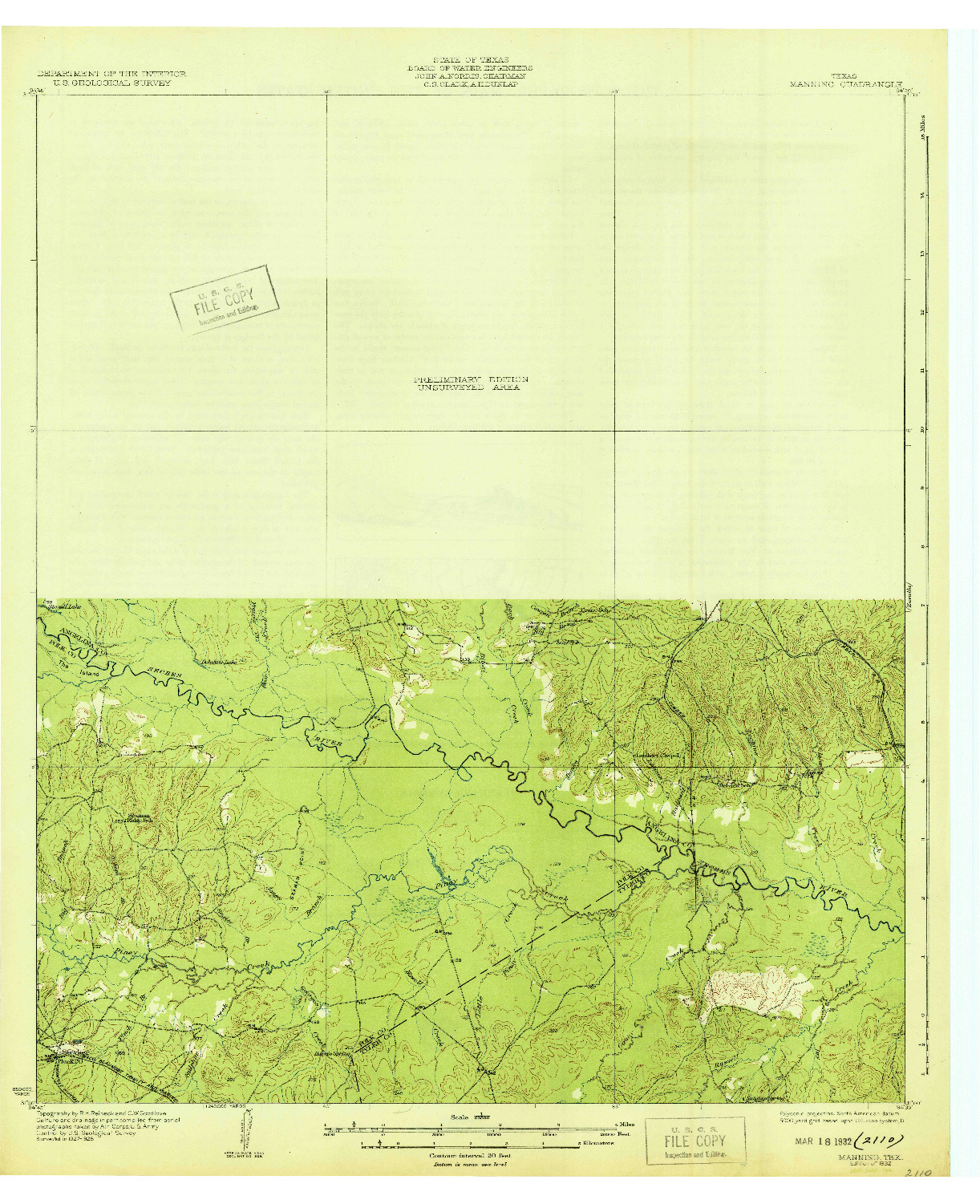 USGS 1:62500-SCALE QUADRANGLE FOR MANNING, TX 1932