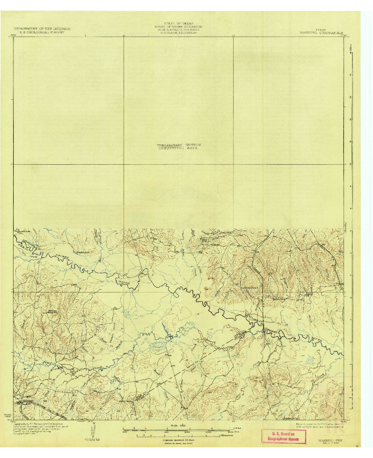 USGS 1:62500-SCALE QUADRANGLE FOR MANNING, TX 1932