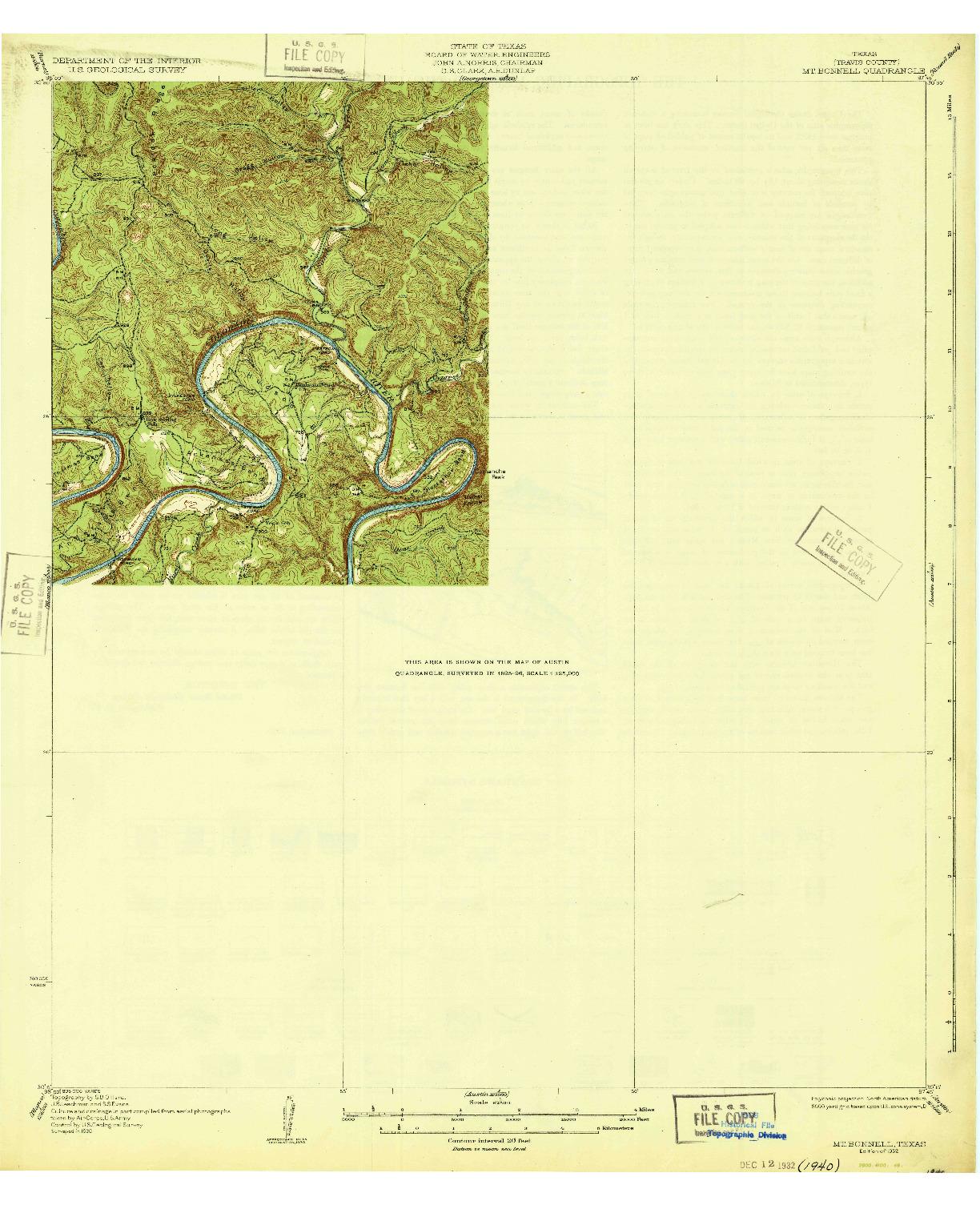 USGS 1:62500-SCALE QUADRANGLE FOR MT. BONNELL, TX 1932