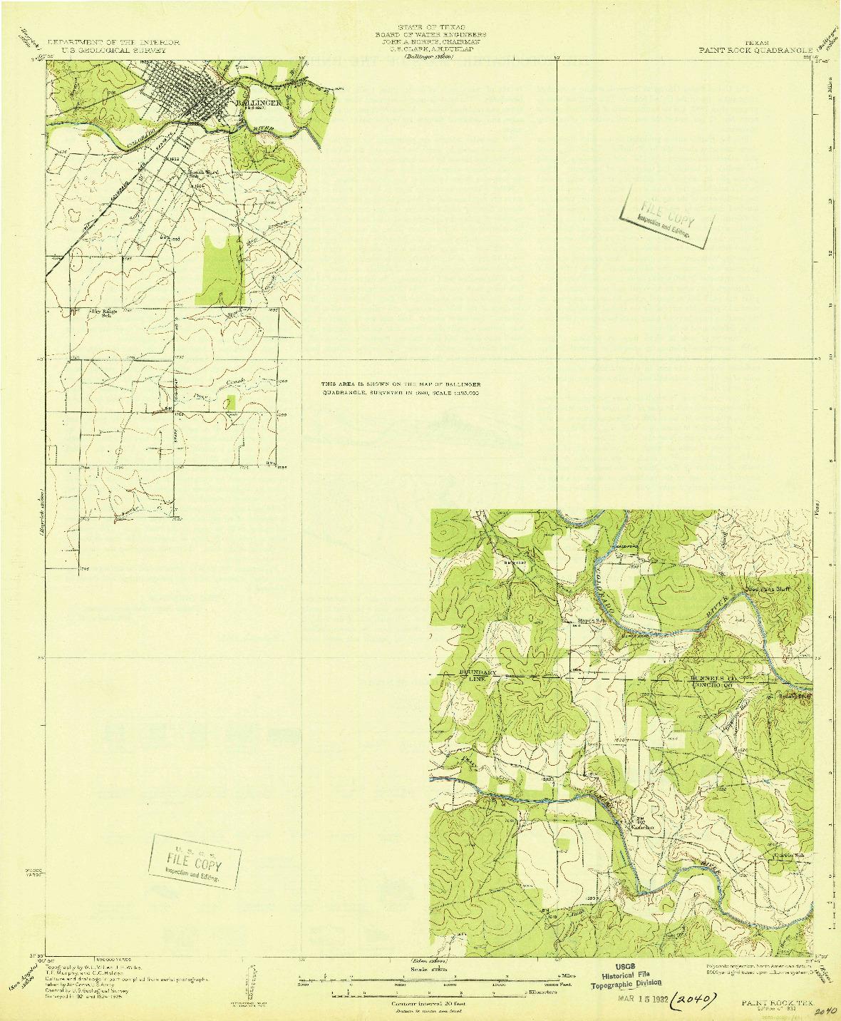 USGS 1:62500-SCALE QUADRANGLE FOR PAINT ROCK, TX 1932