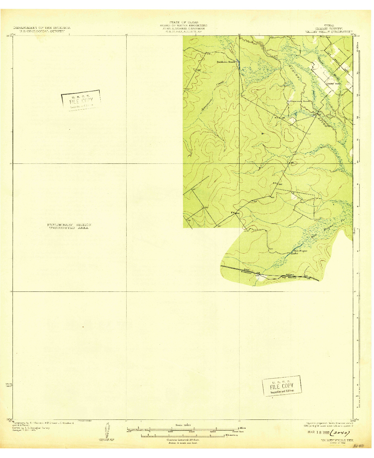 USGS 1:62500-SCALE QUADRANGLE FOR VALLEY WELLS, TX 1932