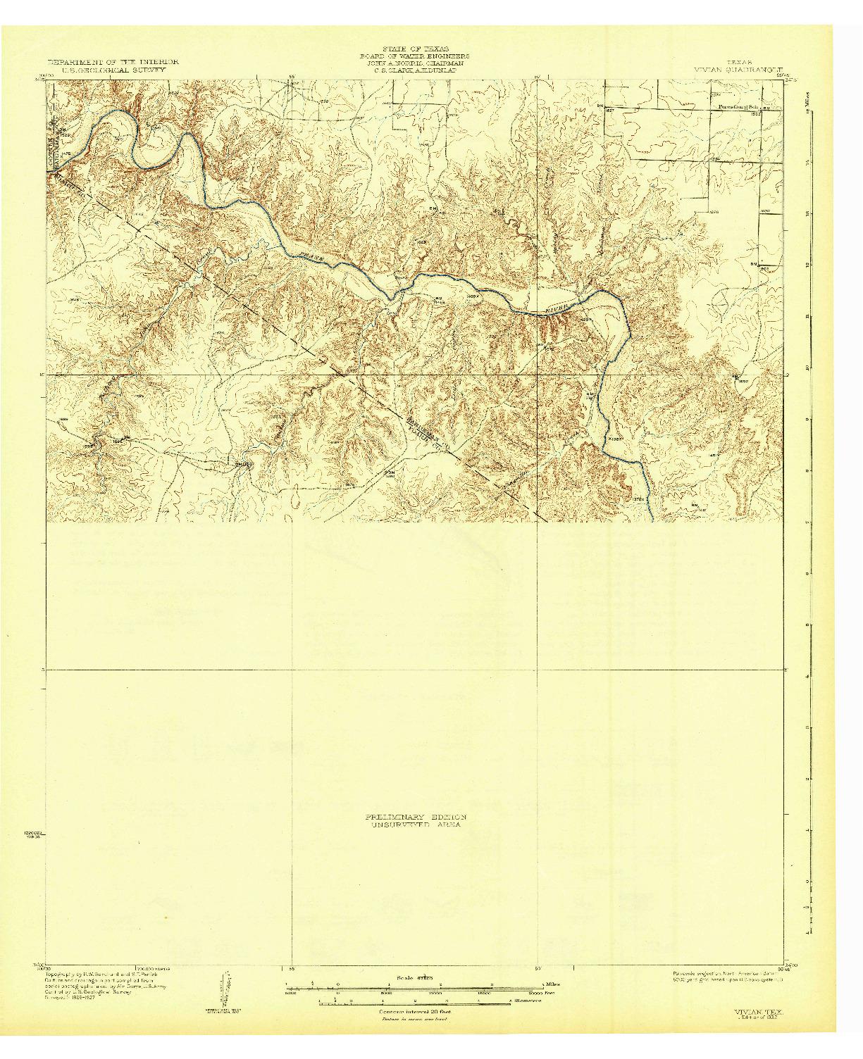USGS 1:62500-SCALE QUADRANGLE FOR VIVIAN, TX 1932