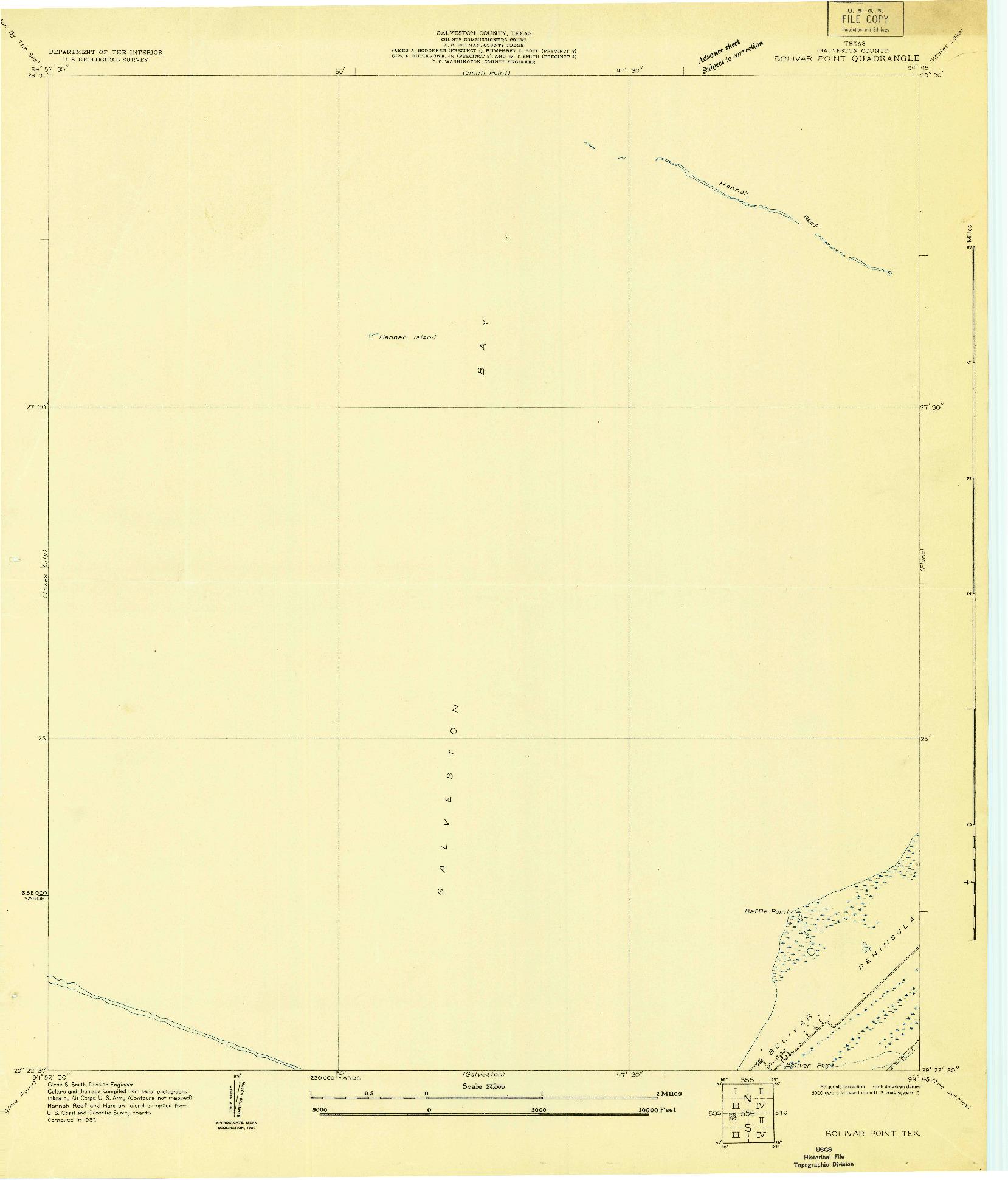 USGS 1:24000-SCALE QUADRANGLE FOR BOLIVAR POINT, TX 1932