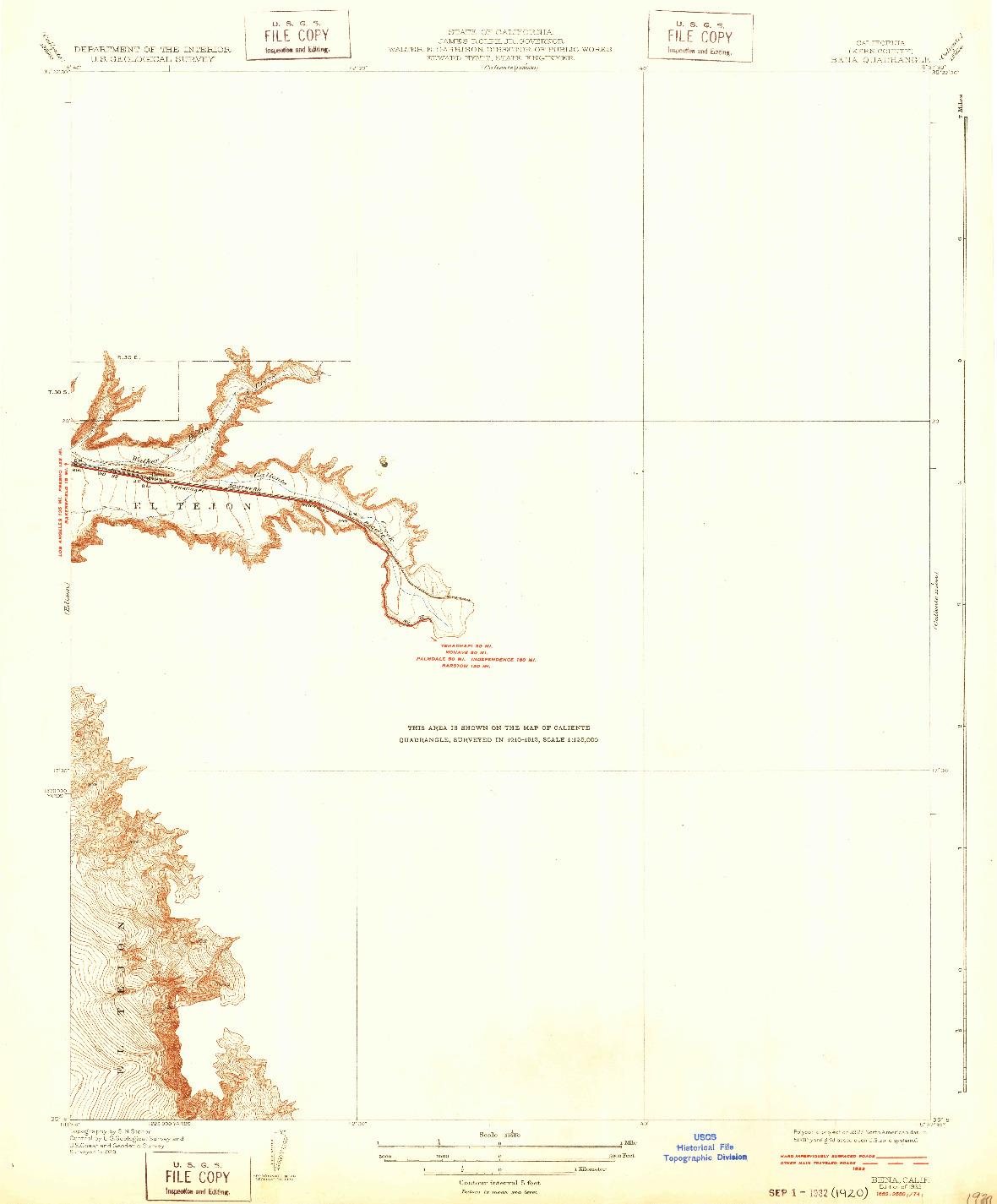 USGS 1:31680-SCALE QUADRANGLE FOR BENA, CA 1932