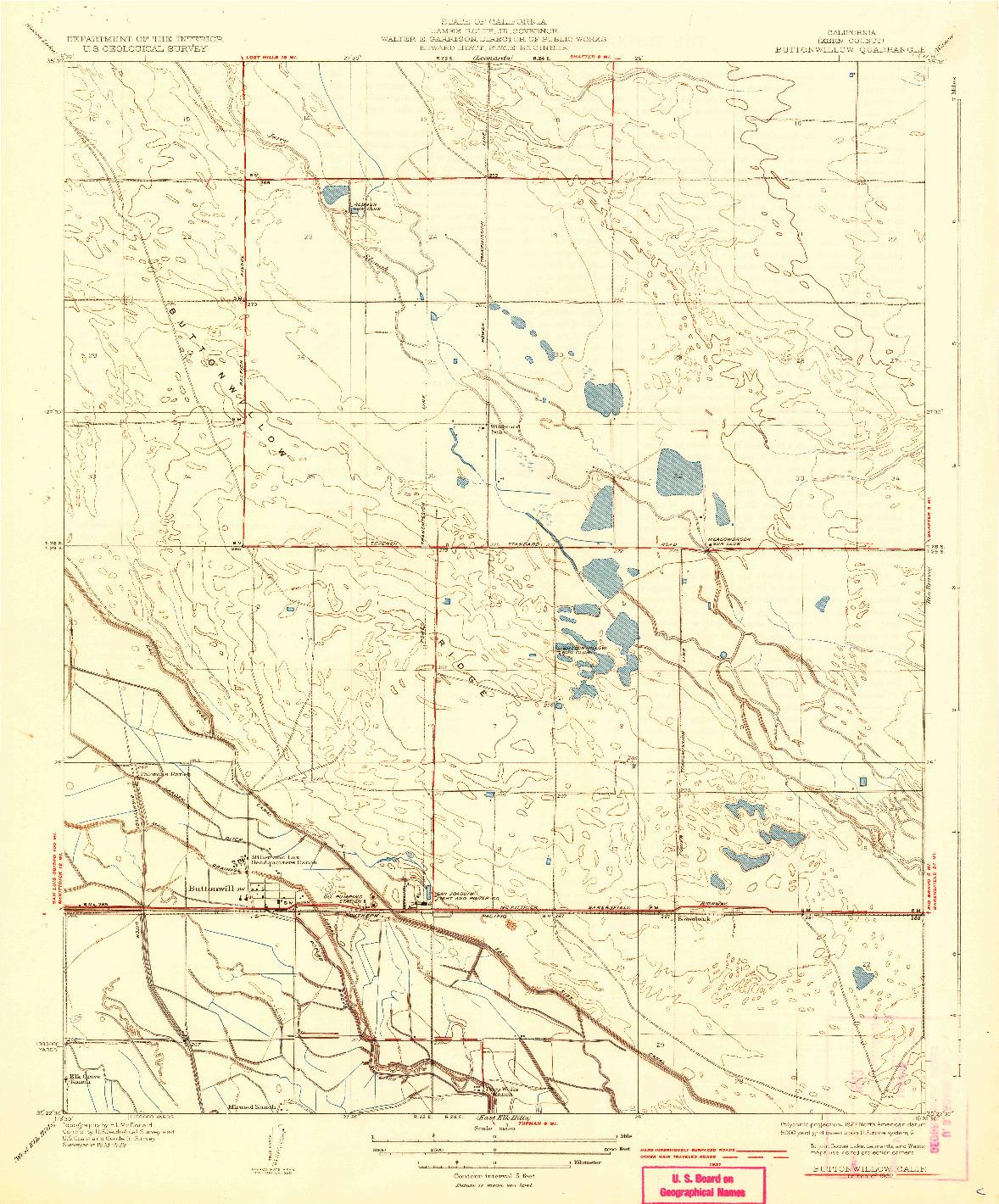 USGS 1:31680-SCALE QUADRANGLE FOR BUTTONWILLOW, CA 1932