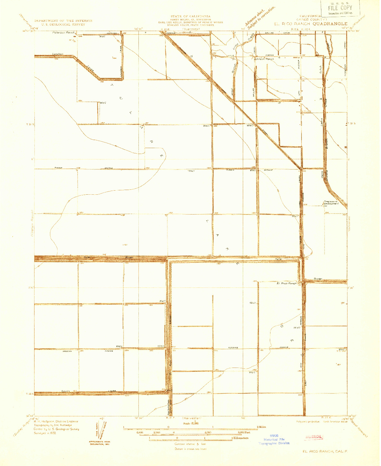 USGS 1:31680-SCALE QUADRANGLE FOR EL RICO RANCH, CA 1932