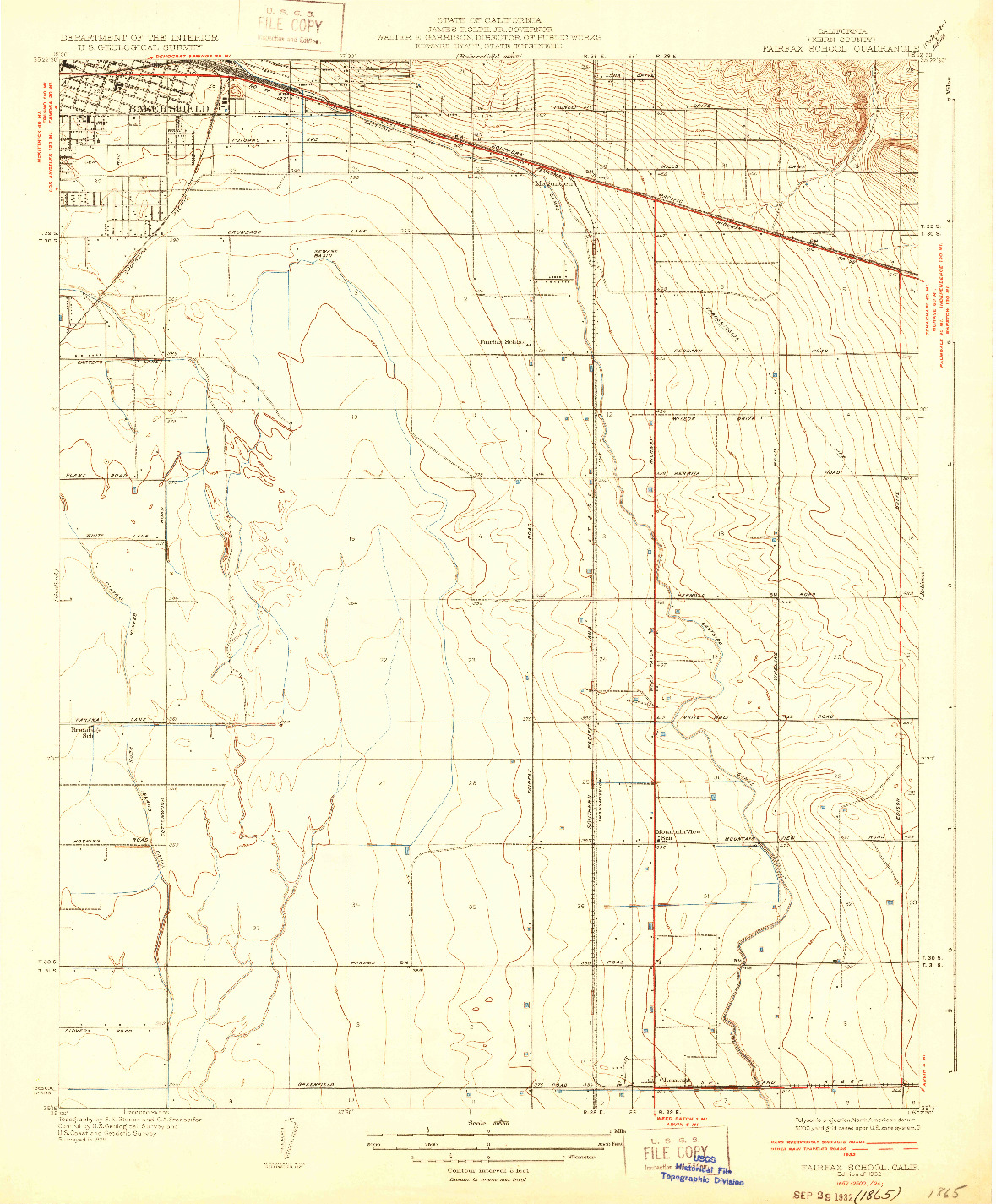 USGS 1:31680-SCALE QUADRANGLE FOR FAIRFAX SCHOOL, CA 1932