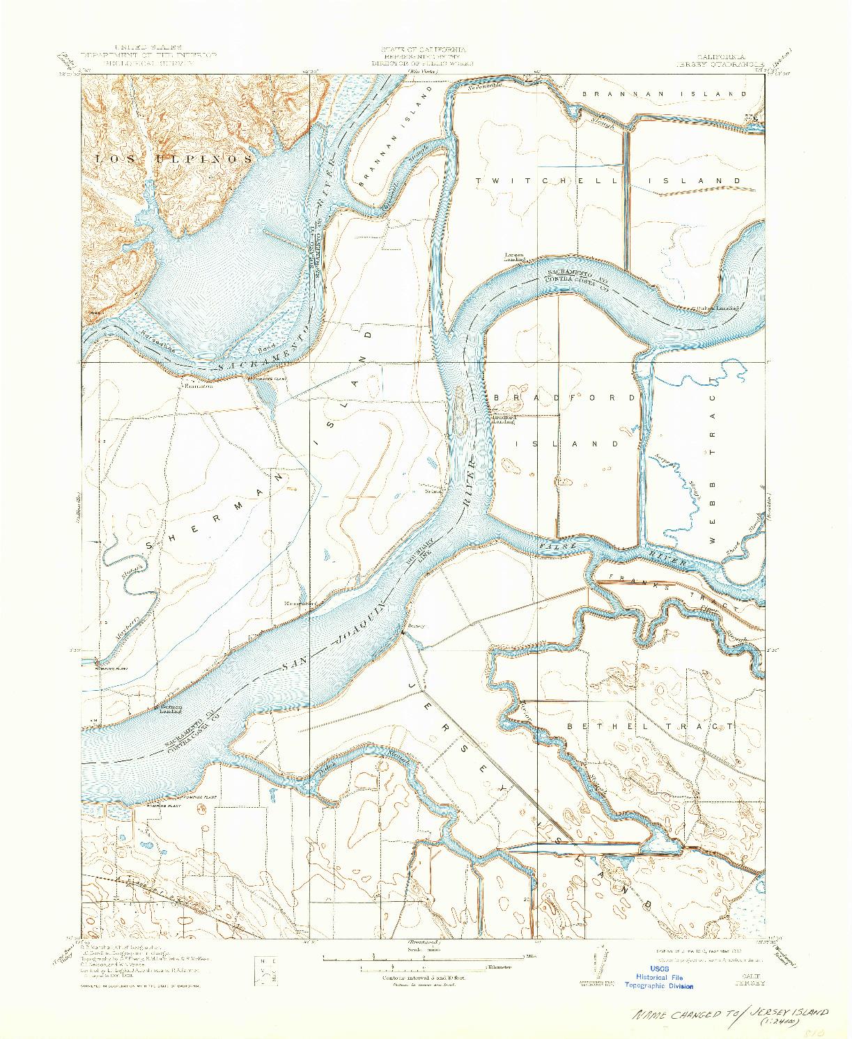 USGS 1:31680-SCALE QUADRANGLE FOR JERSEY, CA 1910