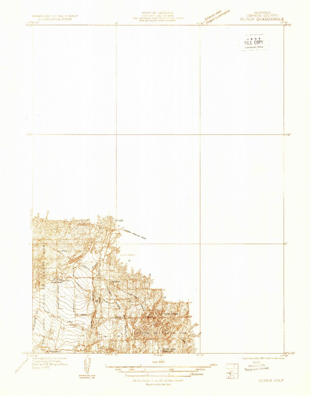 USGS 1:31680-SCALE QUADRANGLE FOR OLINDA, CA 1932