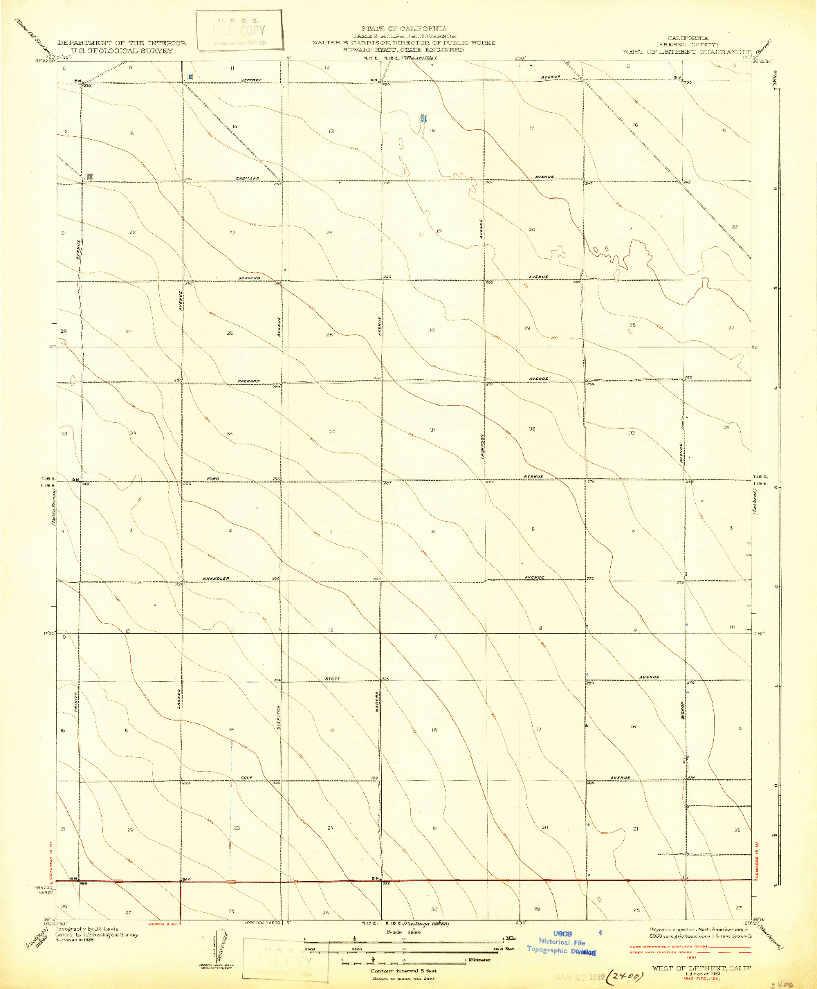 USGS 1:31680-SCALE QUADRANGLE FOR WEST OF LETHENT, CA 1932