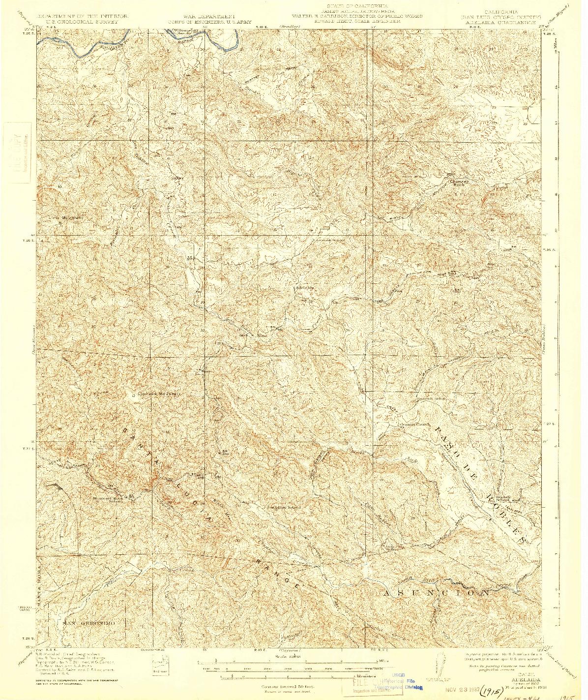 USGS 1:62500-SCALE QUADRANGLE FOR ADELAIDA, CA 1932