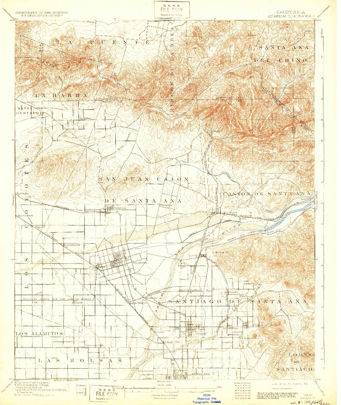 USGS 1:62500-SCALE QUADRANGLE FOR ANAHEIM, CA 1901