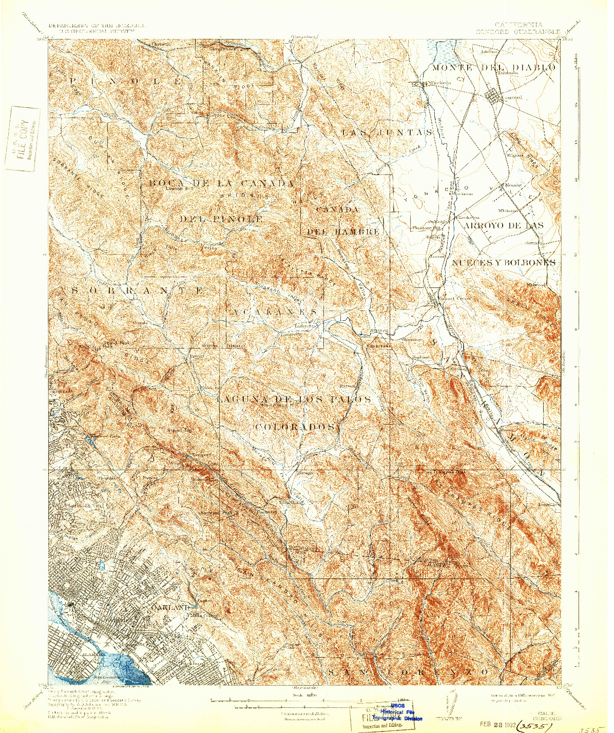 USGS 1:62500-SCALE QUADRANGLE FOR CONCORD, CA 1915