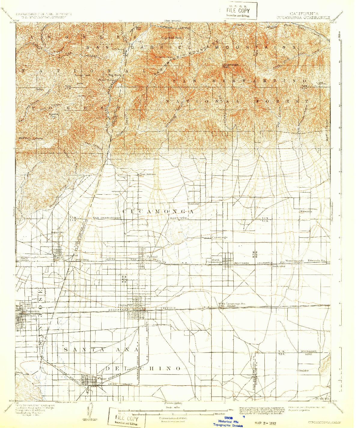 USGS 1:62500-SCALE QUADRANGLE FOR CUCAMONGA, CA 1903