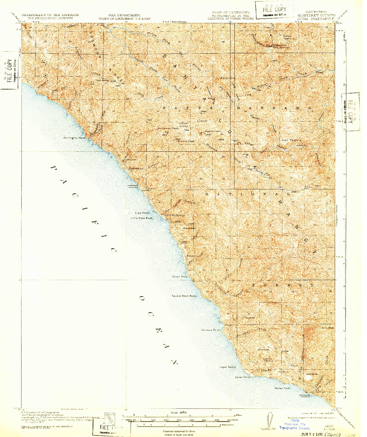 USGS 1:62500-SCALE QUADRANGLE FOR LUCIA, CA 1921