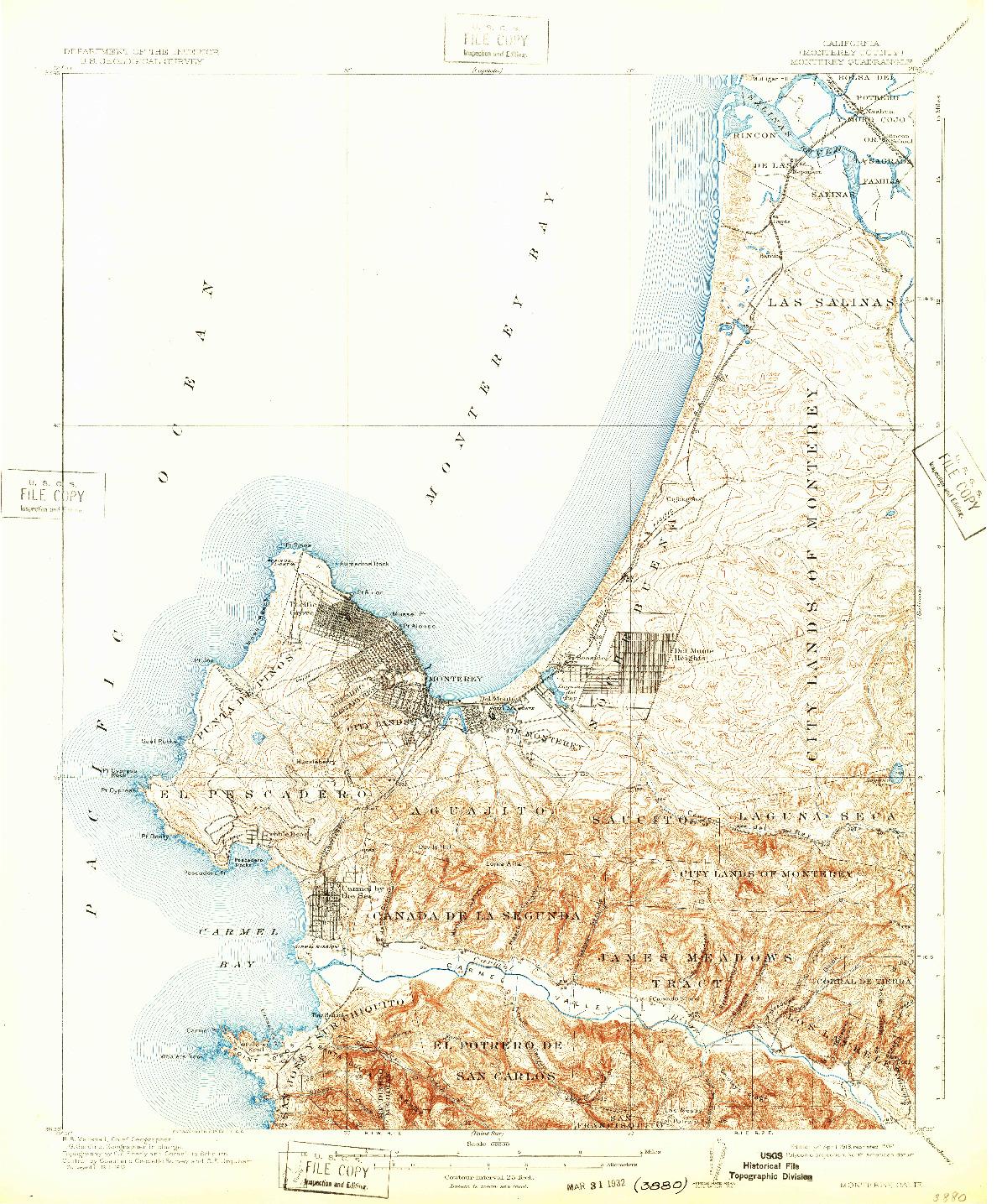 USGS 1:62500-SCALE QUADRANGLE FOR MONTEREY, CA 1913