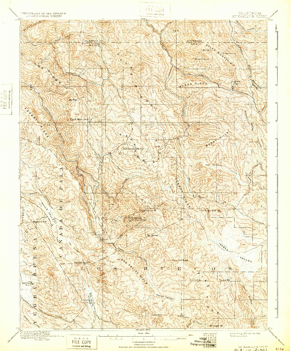 USGS 1:62500-SCALE QUADRANGLE FOR MT. HAMILTON, CA 1897