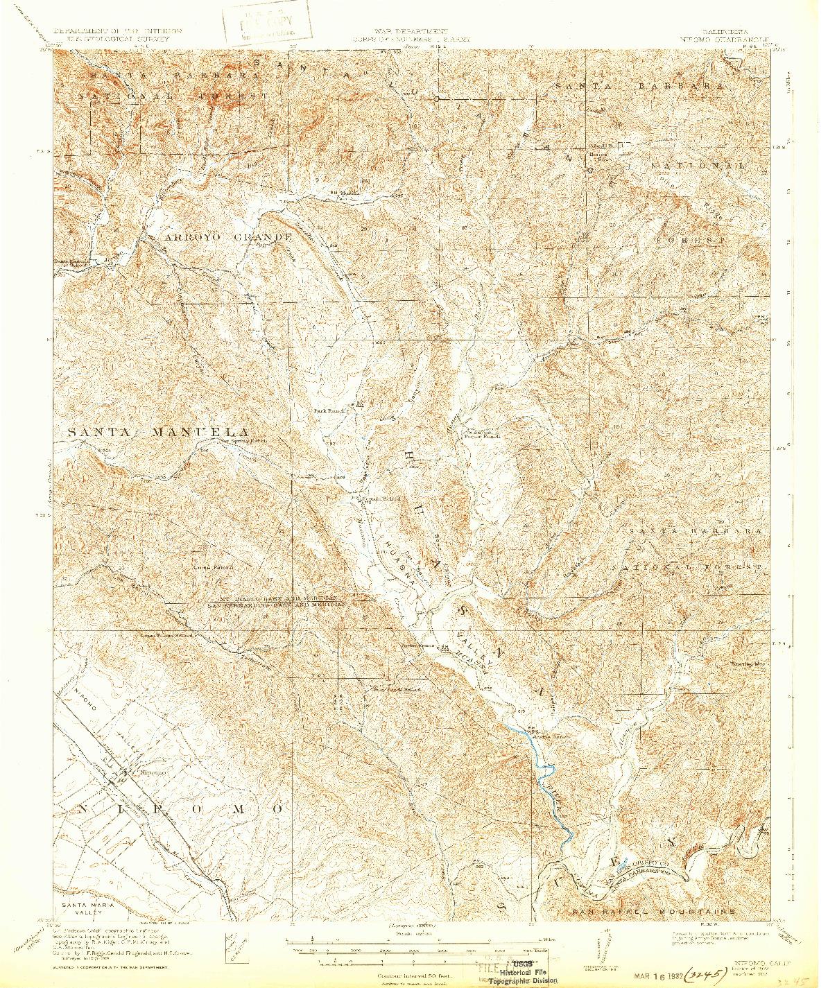 USGS 1:62500-SCALE QUADRANGLE FOR NIPOMO, CA 1922
