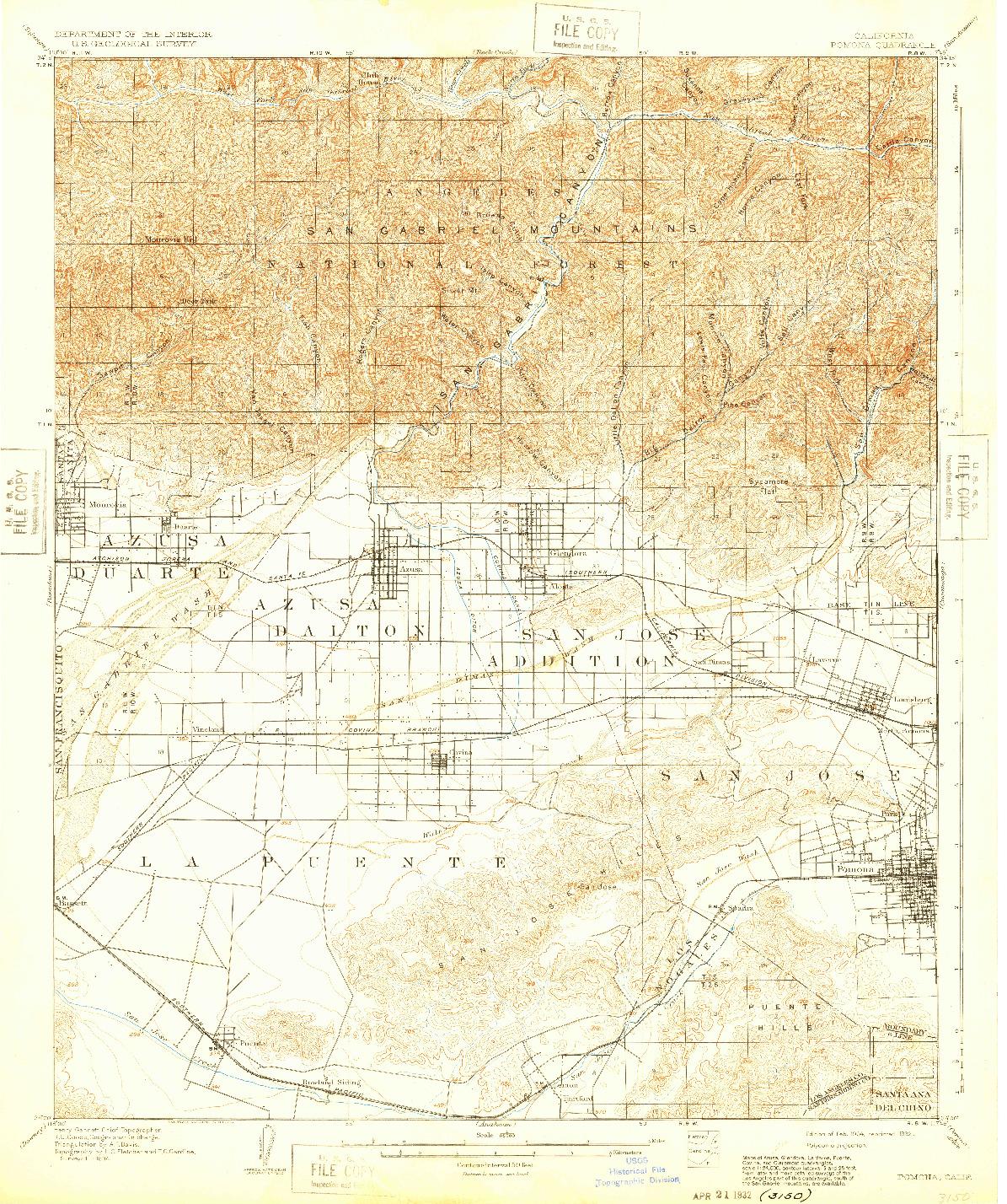 USGS 1:62500-SCALE QUADRANGLE FOR POMONA, CA 1904