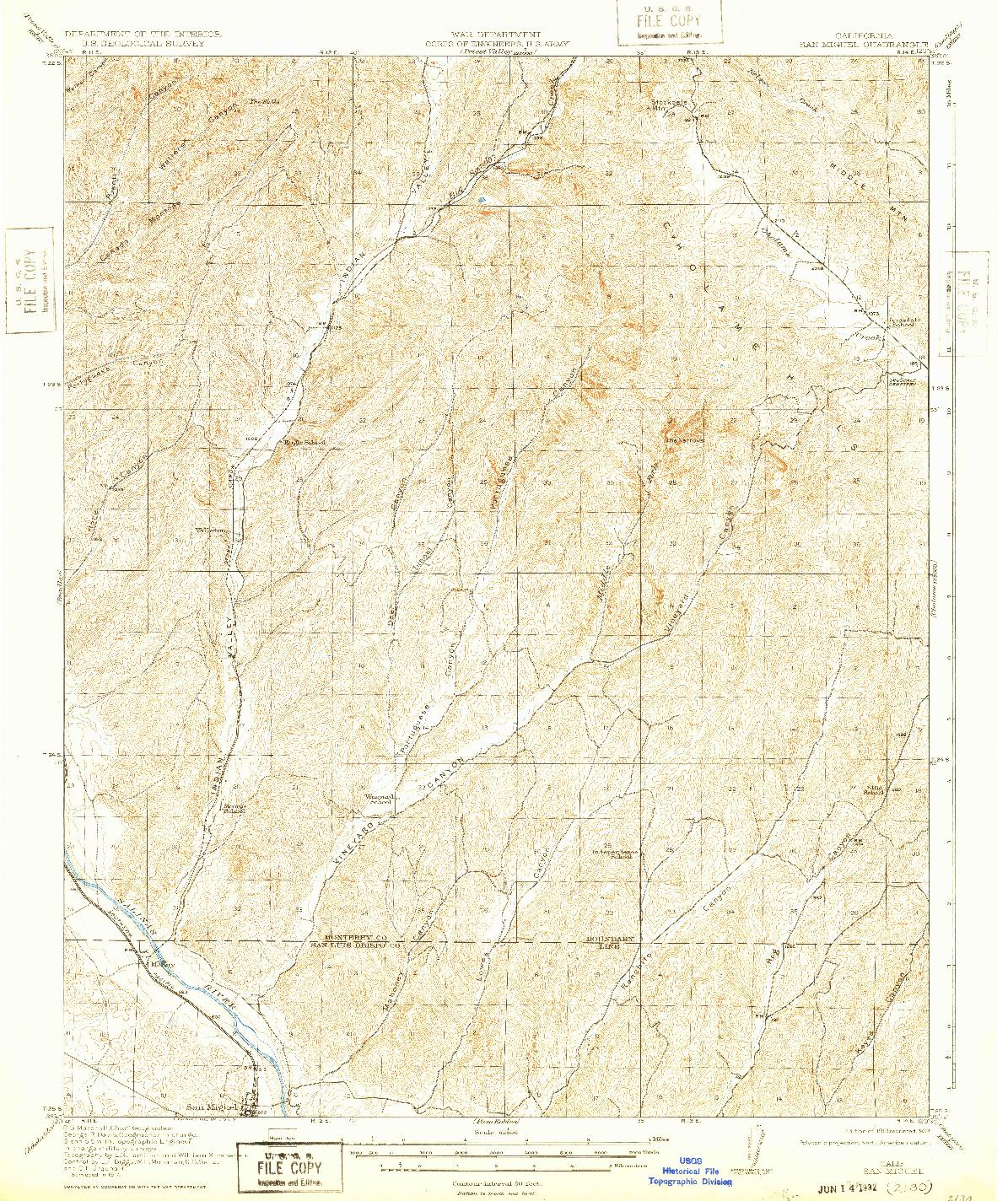 USGS 1:62500-SCALE QUADRANGLE FOR SAN MIGUEL, CA 1919