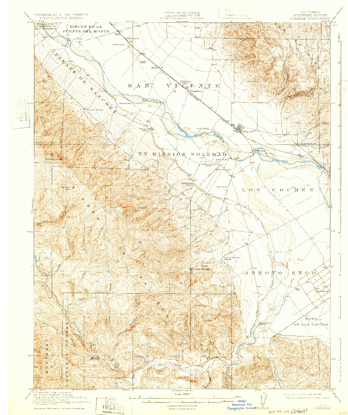 USGS 1:62500-SCALE QUADRANGLE FOR SOLEDAD, CA 1915