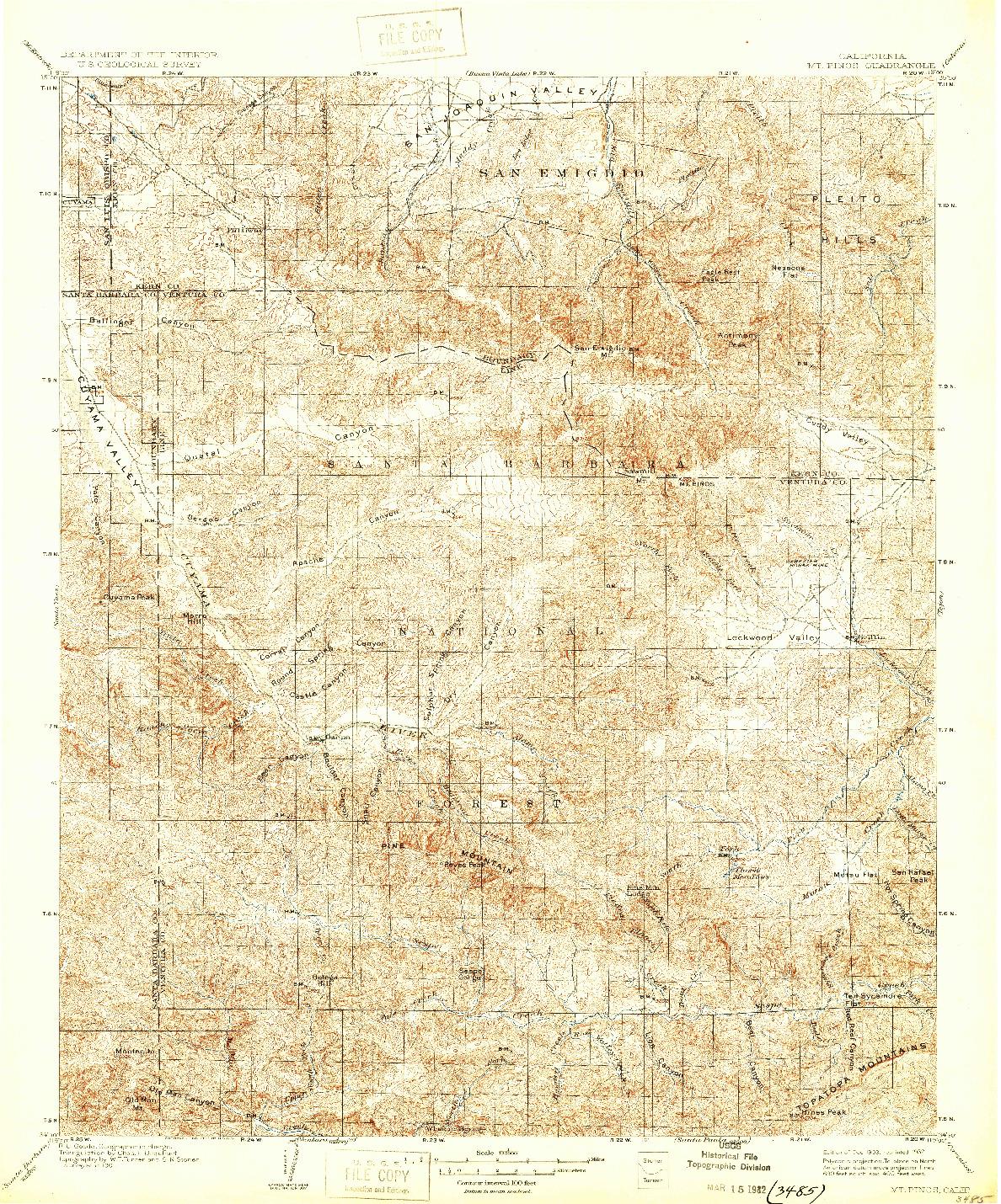USGS 1:125000-SCALE QUADRANGLE FOR MT. PINOS, CA 1903