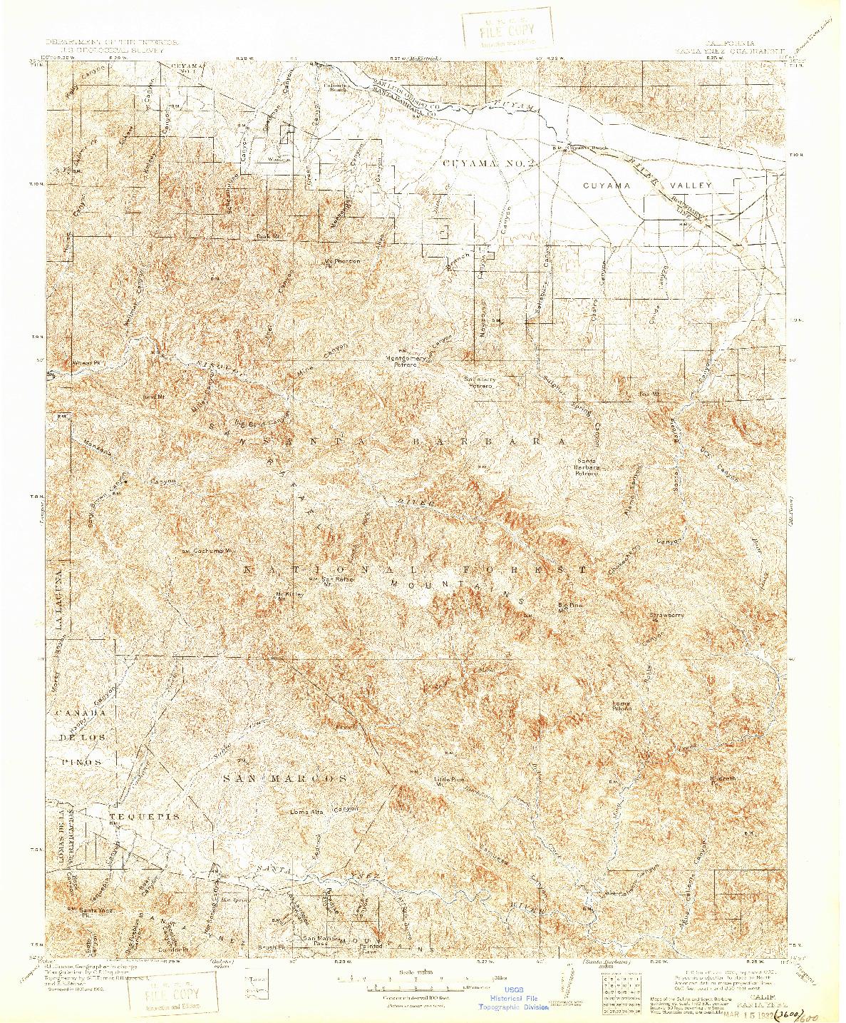 USGS 1:125000-SCALE QUADRANGLE FOR SANTA YNEZ, CA 1905
