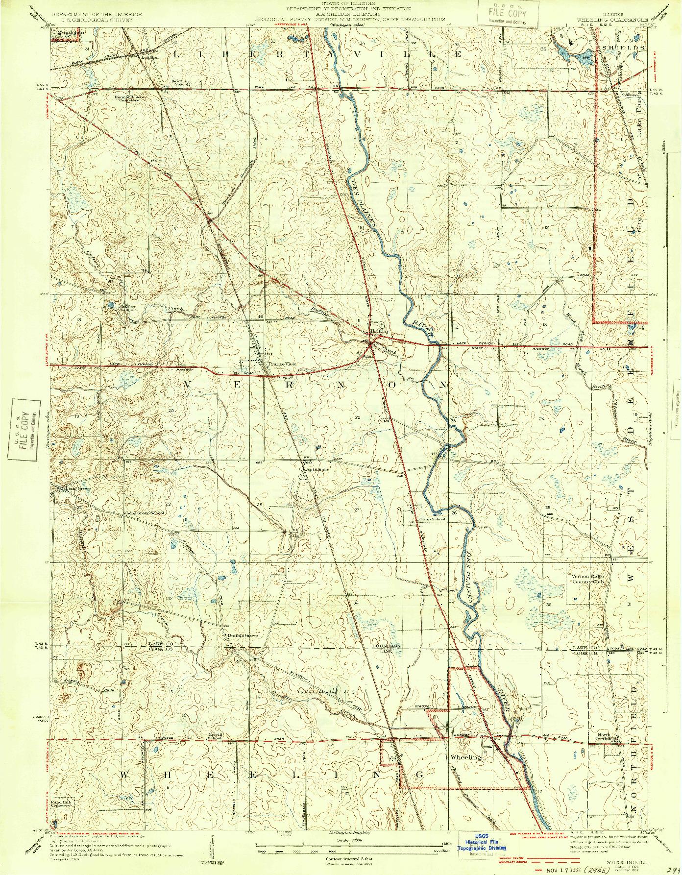 USGS 1:24000-SCALE QUADRANGLE FOR WHEELING, IL 1928