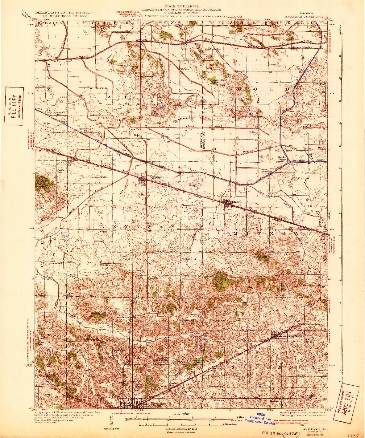 USGS 1:62500-SCALE QUADRANGLE FOR ANNAWAN, IL 1932