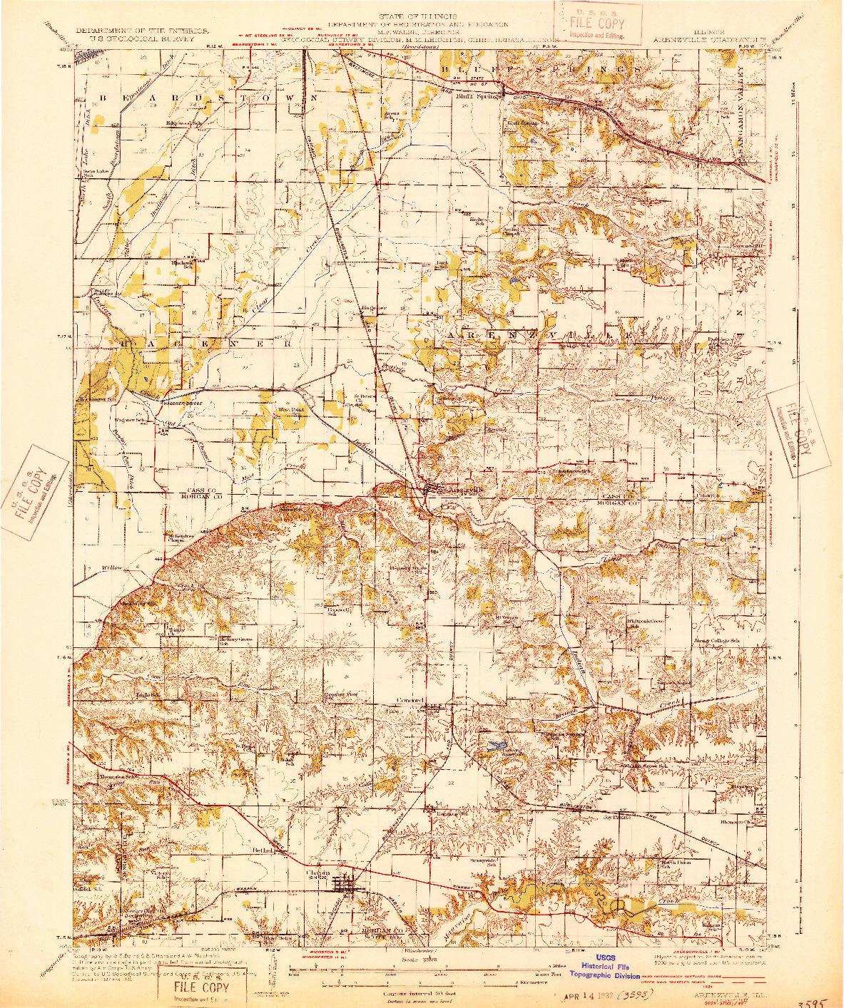 USGS 1:62500-SCALE QUADRANGLE FOR ARENZVILLE, IL 1932